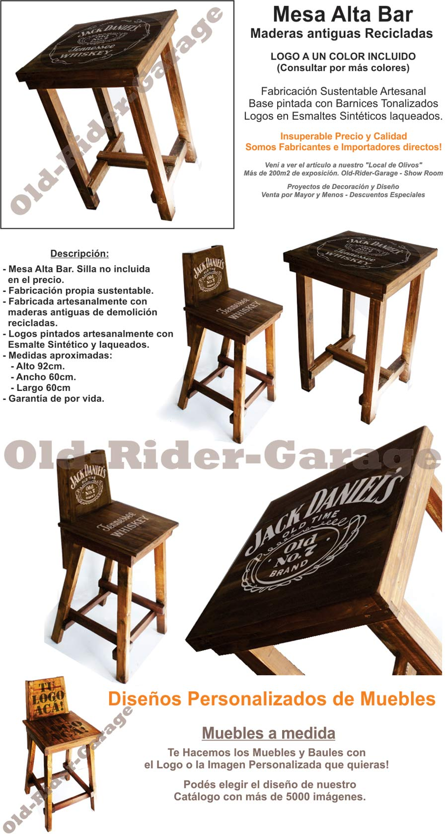 Mesa alta bar madera antigua reciclada jack daniels for Mesa carro bar madera
